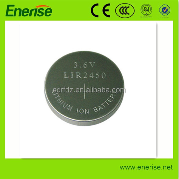 li ion cell battery LIR2450 3v, recharge coin button cell lir2450 with pins for hearing aid
