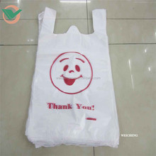 China wholesale hdpe biodegradable plastic bag printing for shopping,plastic t-shirt bag factory