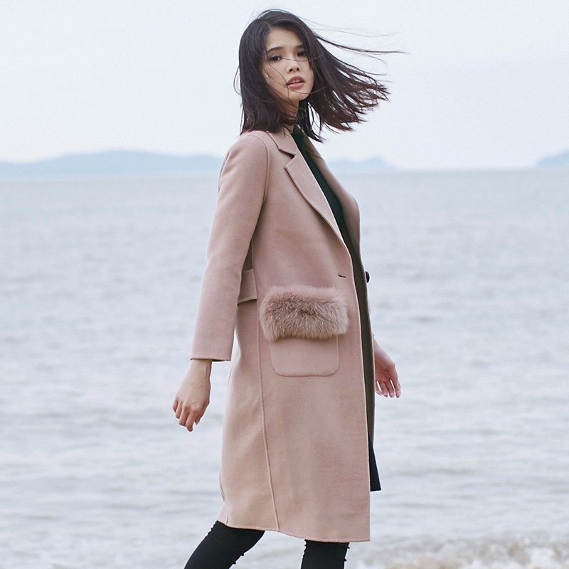 2017 New Design Winter Wool Long Double Sided Woolen Overcoats For Women