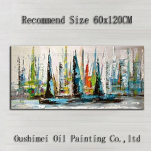 China Top Skill Artist 100%Handmade Abstract Large Size Boat Oil Painting On Canvas Impression Boats Picture For Wall Decoration