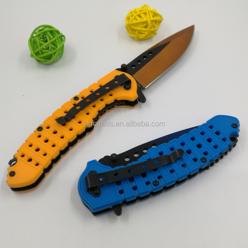 (PK-1920P) New Hot Double Colors Blade Plastic Handle Assisted Opening Pocket Survival Camping Folding Knife