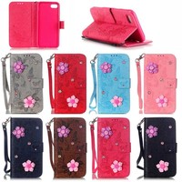 2016 China Supplier Hot Selling New Products 3D Flower Wallet Flip Cover Leather Mobile Phone Case for iPhone 7