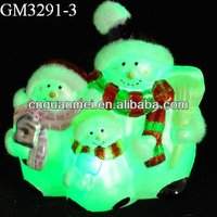 2013 new product/glass christmas snowman family with LED light