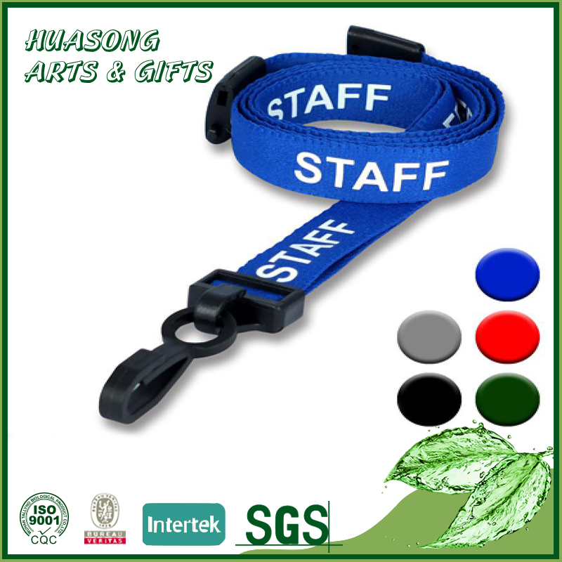 Custom logo free sample social worker id card neck strap lanyard with hooks