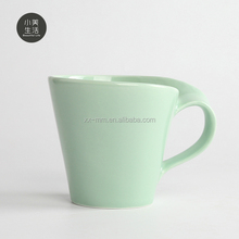 matt glazed green musical cheap ceramic coffee mug with grace handle