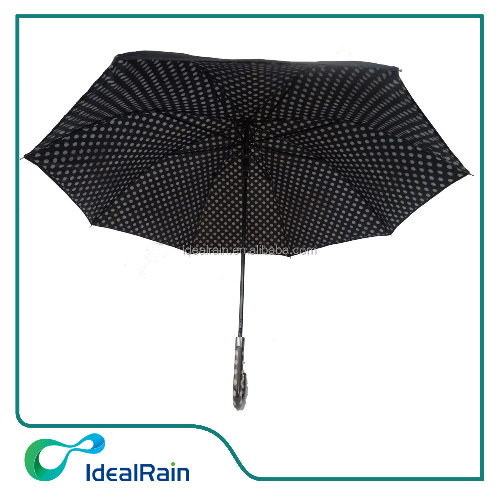 black color strong straight umbrella with white circle dot inside