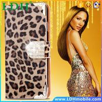 i6 Deluxe Diamond Bling Leopard Pattern Wallet Leather Case For iPhone 6 4.7 Luxury Flip Card Slot Shell Cover