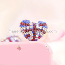 free shipping crystal heart dust ear cap plug (XT-024)