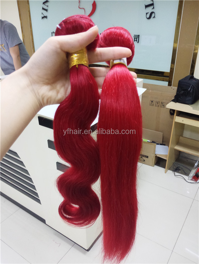 silky straight red colored virgin brazilian hair weaving weft masterpiece 100% human hair