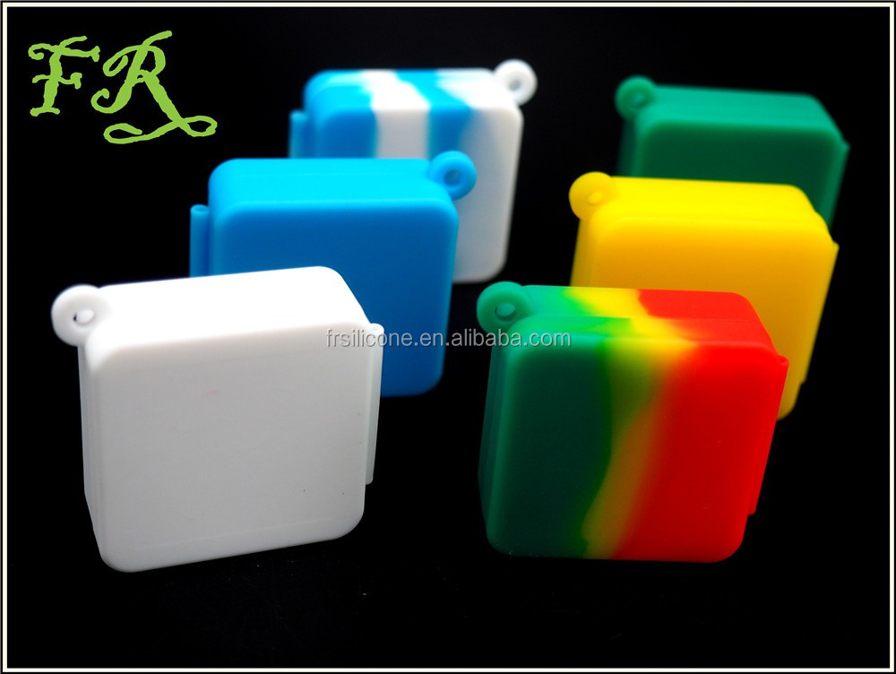 ABLAZE new wholesale raninbow square hinge keychain hole design Concentrate Nonstick Jar silicone jars dab wax container square