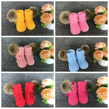 Wholesale 0-3-6-12 Month Rattle Booties Hand Crochet Infant Boots Baby Knitting Shoes