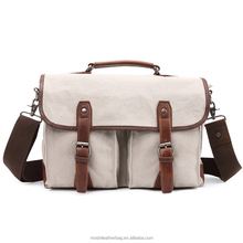 Stylish Simple Canvas Small Briefcase Shoulder Bag for Men with Single Leather Handle