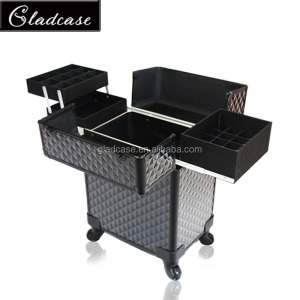 High quality aluminum professional beauty trolley case beauty case rolling makeup case