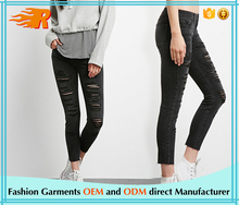 Latest Design Black Super Skinny Fit Ladder Cut Out Jeans For Women