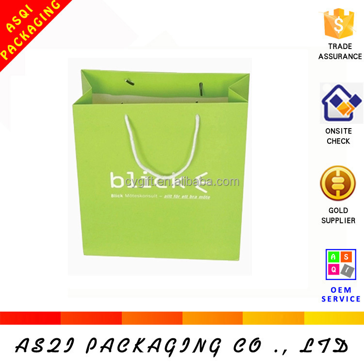 luxury brand name design custom full color printing company logo laminated shopping paper bag