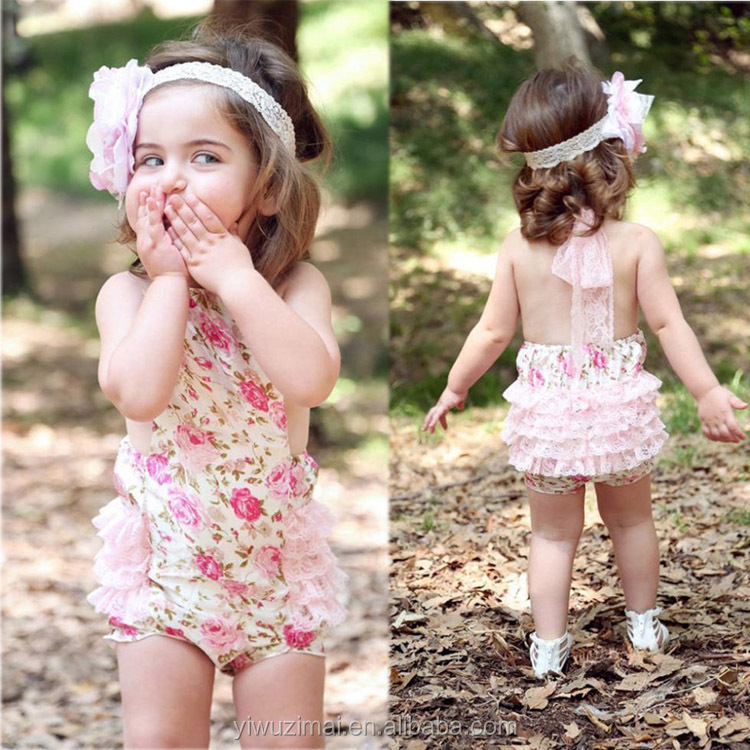 Hot Sales Summer Newborn Baby Girls Rose Flower Printed Lace Romper Toddler Jumpsuit