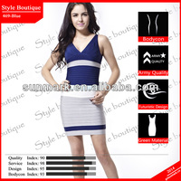 World debut 2015 blue bandage dress custom in top design