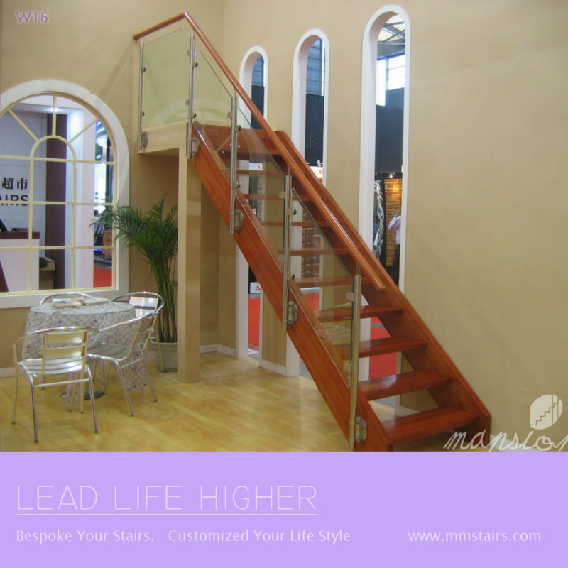 Wood Handrail Steel Glass Stairs Railing