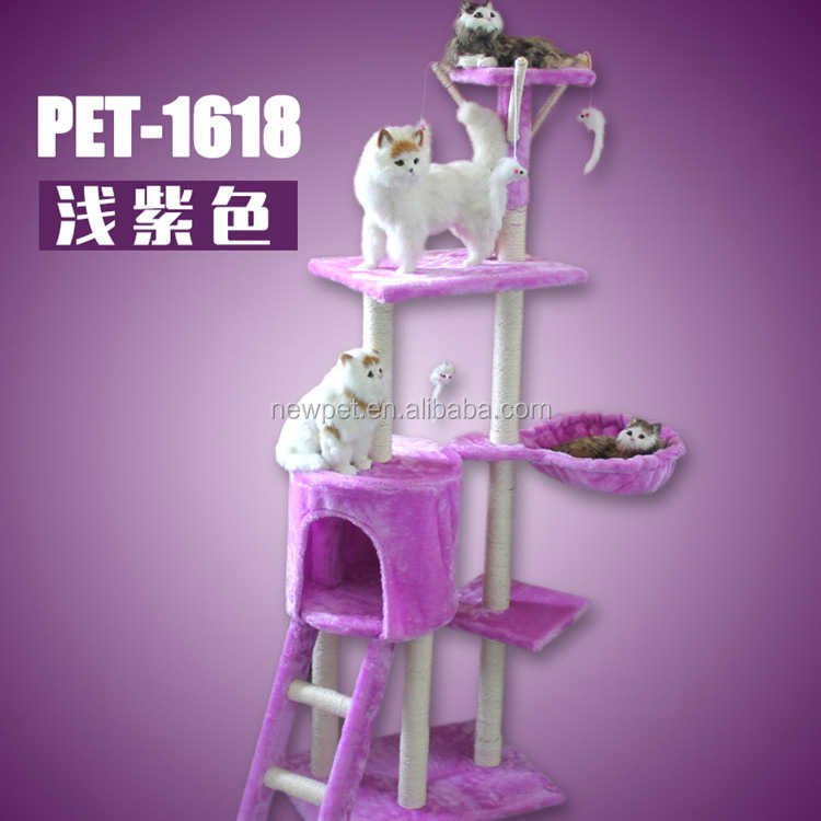 Natural style hot sale functional colorful cat house plush mini cat climber tree toy