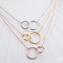 Stainless Steel Choker Necklace Women Jewelry Gold Plated Double Circle Necklaces