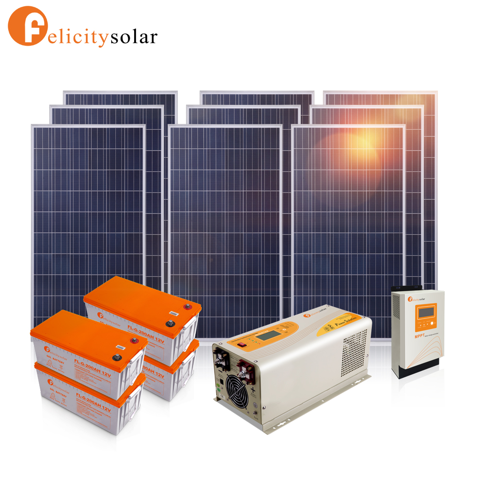 Commercial application 3000w off grid hybrid solar wind power system for home appliance