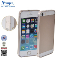Veaqee 2014 cheap price walnutt hot hard metal bumper trio case for iphone 5s