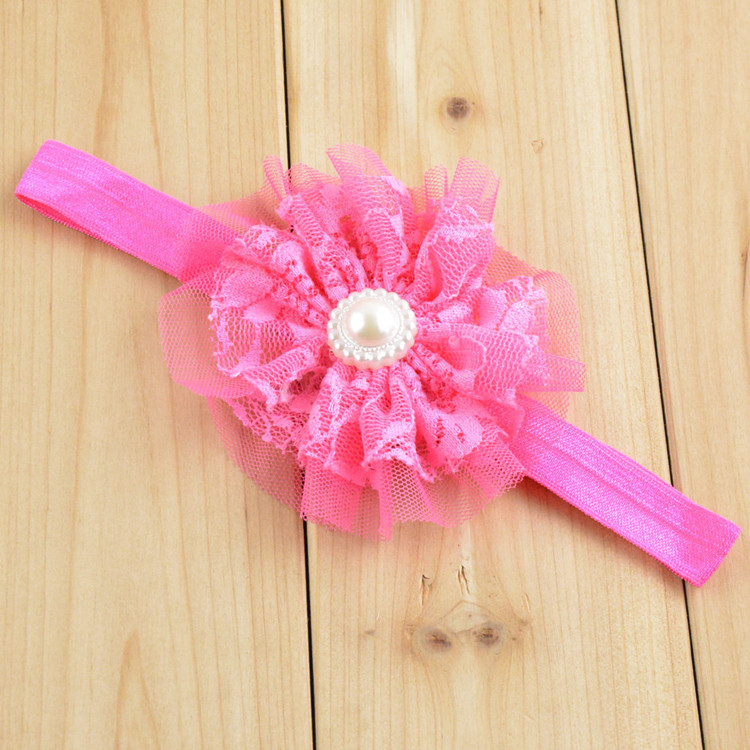 Burrs shabby flowers baby's hair band pearl children's headdress Flower childrens Hair Accessories