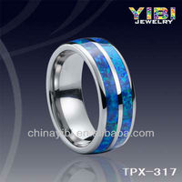 Blue Opal Rings tanzanite Joyas Acero Quirurgico Tungsten Carbide Men Refined Ring