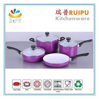 Wholesale good price new 7pcs aluminum nonstick pink potobelo cookware brands