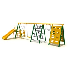Multifunction outdoor combination swing and slide playground for kids