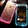 Fashion Rhinestone Transparent Crystal Hard Cover for iPhone 6 iPhone 6s Cell Phone Flashing Case