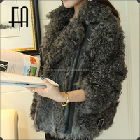 Factory direct whoesale lady's silhouette lamb fur motorcyle leather jacket