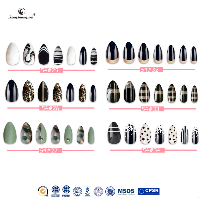 fengshangmei nail art eco-friendly acrylic nail tips pre painted false nails
