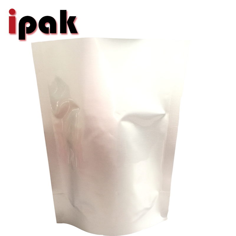 Wholesale plain silver stand up aluminum foil bag for food