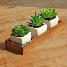 Rectangular Wooden Desktop Storage Holder w/ Metal Corner, Flower Pot Bonsai Planter Box for Succulent Plants