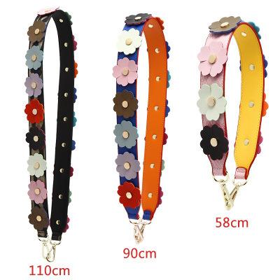 Flowers diagonal bag shoulder strap making accessories color willow bag backpack widening band bag accessories