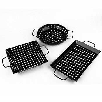 3 Pieces Non Stick Heavy Duty Stainless Steel BBQ Vegetable Grill Basket Pan Set