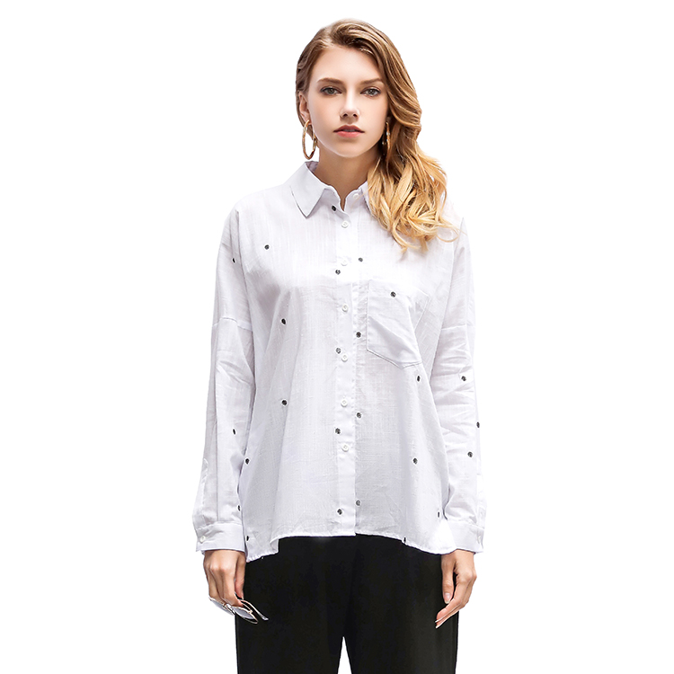 Women Casual Style Long Sleeve Polka Dots Embroidered Linen Shirt
