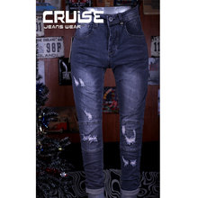 new model men elastic knee ripped patch custom stock jeans in Guangzhou