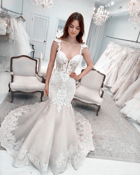 2019 Latest Corset Mermaid Wedding Dresses Fit African Sexy Wedding Gown with Lace Embroidery Bridal Gown New robe de mariage