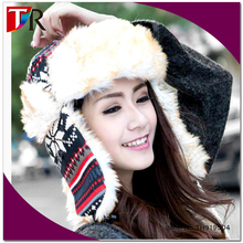 winter popular skiing cap lady warm faux fur christmas earflap hat