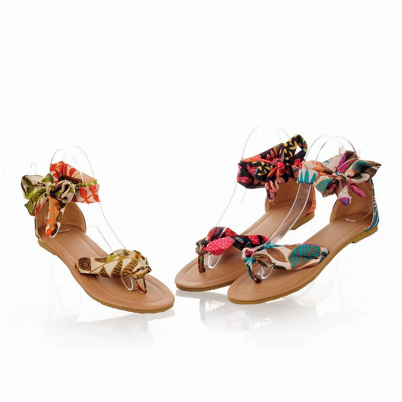 Summer Fashion Women Flats Floral Print Toe-post Thin Shoes Sandals Black