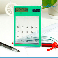 Transparent Electronic Calculator Multi-color 8 Digit LCD Solar Calculator Touch Screen Counter Calculating
