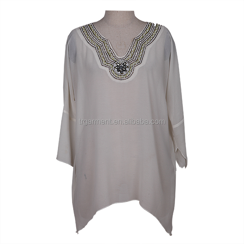 Golden embroidered collars lady tops blouses designs dress/female apparel suppliers