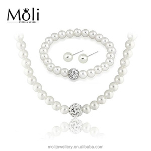 Hot Sale White Color 8-9mm Natural Freshwater Cultured Pearl Crystal Pave Ball Jewelry Necklace Bracelet Earrings Jewelry Set