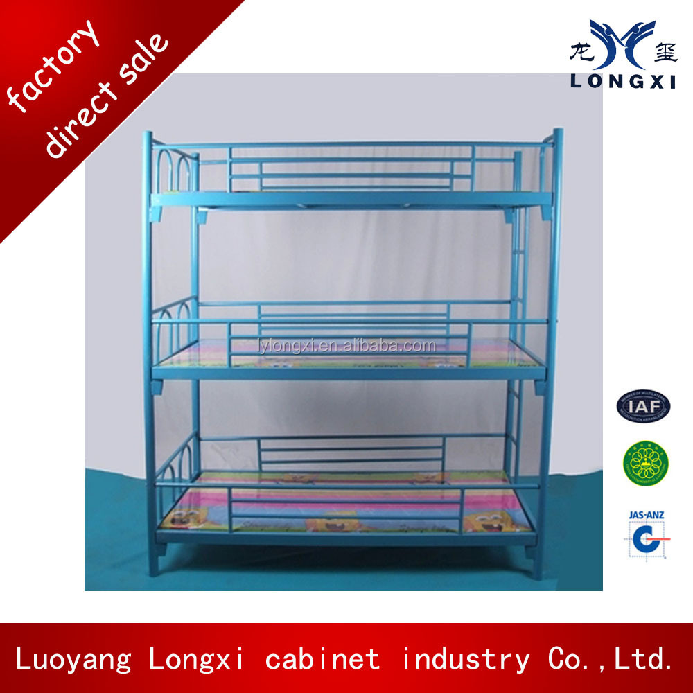 Heavy loading capacity metal triple bunk bed, bunk beds 3 layers