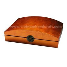Quality eco-friendly handmade vietnamese lacquer box. Inside in black, outside in silver metallic orange