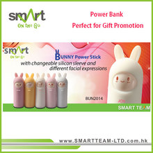Bunny portable charger power bank stick with changeable silicon sleeve and facial expressions