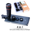 reflex digital camera lens for smartphone fixed focus 12x telescope 4 in 1 lens for iphone6/6s/samsung