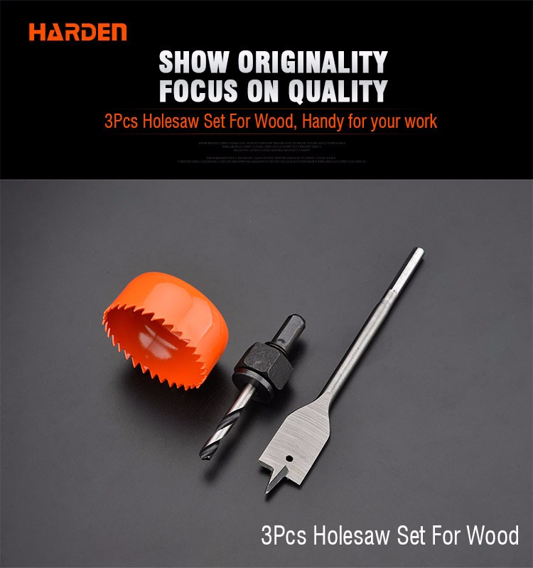 Harden High Carbon Steel 3PCS Hole Saw Set for Wood Cutting